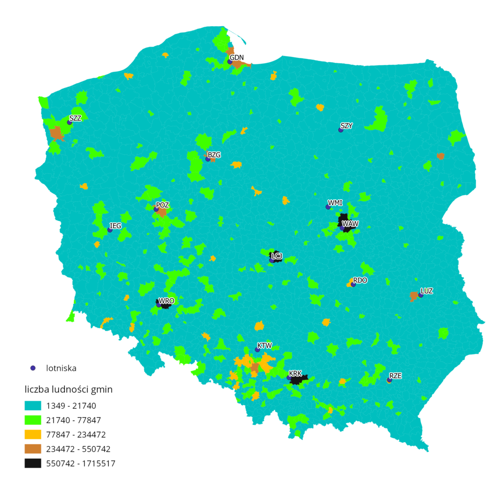 Distribution map of Polish airports against a population.