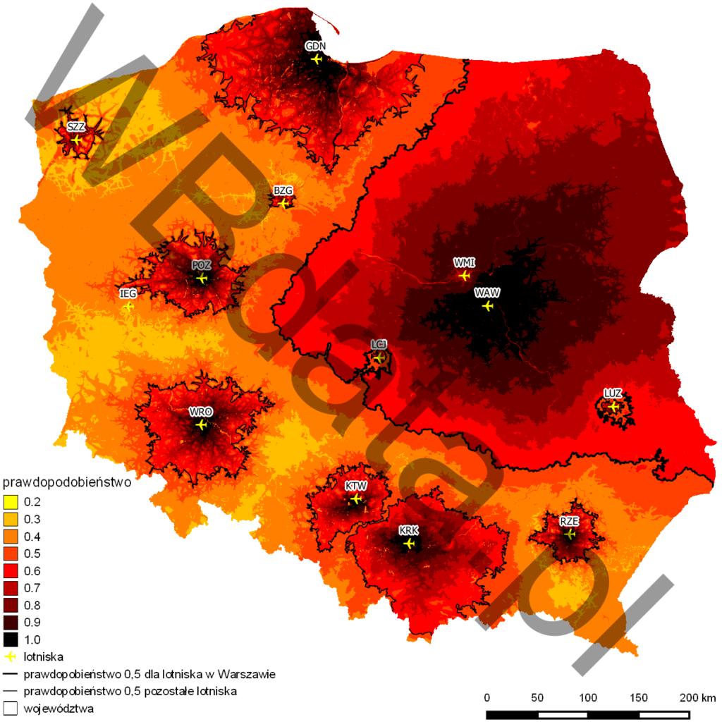 Mapa przedstawia model Huffa. Jest to model ciążenia pasażerów do portów lotniczych zlokalizowanych na obszarze Polski. Wyraża prawdopodobieństwo wyboru danego portu spośród konkurujących ze sobą portów.