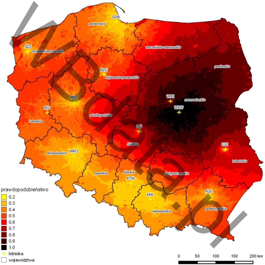 Model Huffa dla lotniska Warszawa Okęcie. Jest to model ciążenia pasażerów do portów lotniczych zlokalizowanych na obszarze Polski. Wyraża prawdopodobieństwo wyboru danego portu spośród konkurujących ze sobą portów.