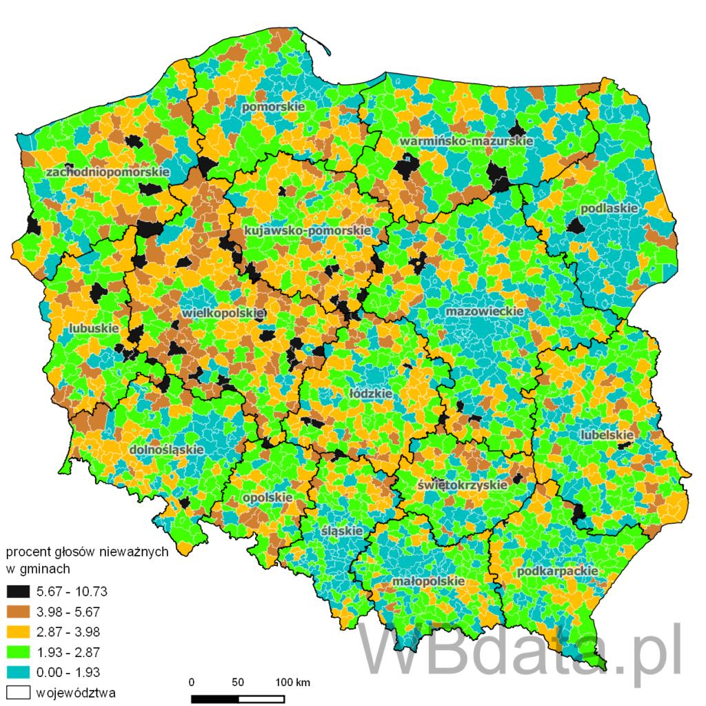 Głosy nieważne w wyborach do Parlamentu Europejskiego w 2009 roku w gminach