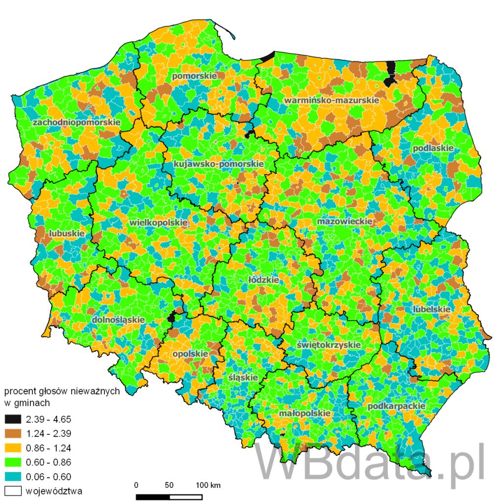 Głosy nieważne w wyborach prezydenckich w 2010 roku (I tura) w gminach