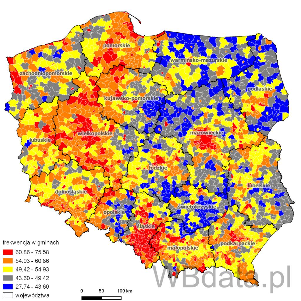Frekwencja w gminach - referendum akcesyjne do UE 2003 r.