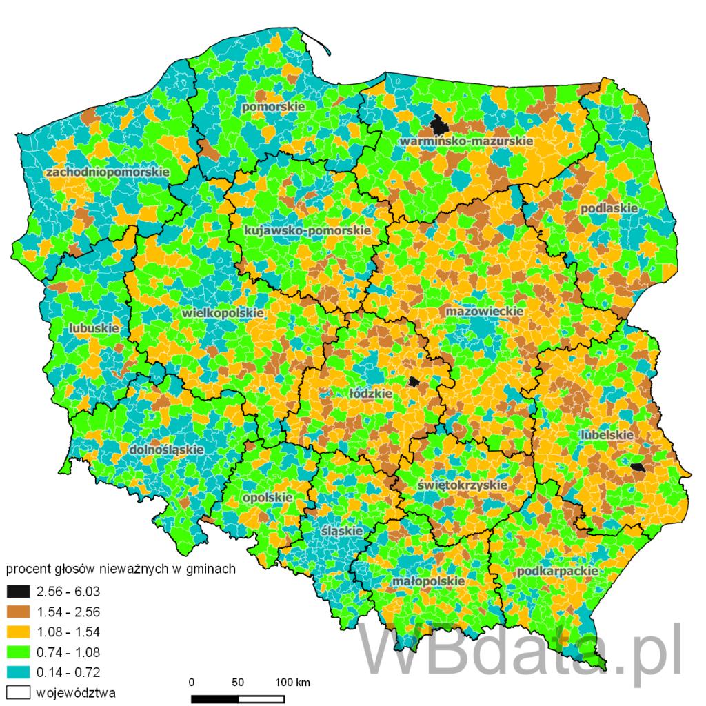 Mapa przedstawiająca procent głosów nieważnych w gminach - referendum akcesyjne do UE 2003 r.
