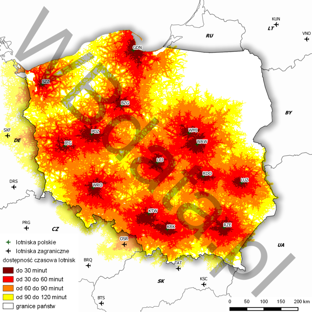 The map shows road time accessibility to Polish airports with regard to the road network in our neighbours within EU.