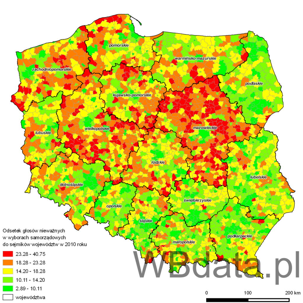 Mapa przedstawia odsetek głosów nieważnych w wyborach samorządowych do sejmików województw w 2010 roku