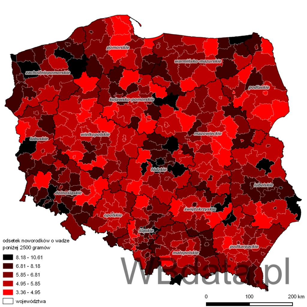 Mapa przedstawia odsetek noworodków o wadze poniżej 2500 gramów w momencie porodu w 2013 roku