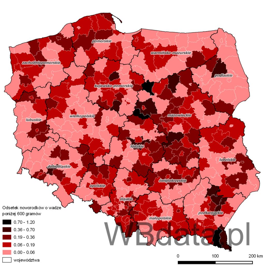 Mapa przedstawia odsetek noworodków o wadze poniżej 600 gramów w momencie porodu w 2013 roku